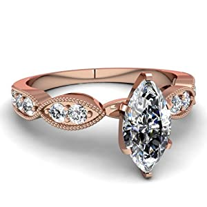 Milgrain Weave Engagement Ring Pave Set 1 Ct Marquise Cut:Very Good Diamond GIA Certificate # 2151412324