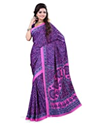 Surat Tex Blue & Pink Crepe Daily Wear Printed Sarees With Blouse Piece-E587SE1005BSP