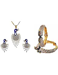 Awww Gold Metal Combo Of Dancing Peacock Bangle Set And Pendant With Chain And Earrings For Women