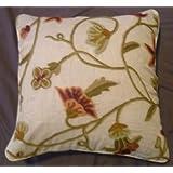 Crewel Pillow Amaryllis Classic White Silk Organza (16X16)