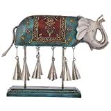 Pushpa Wood And Iron Elephant With Bell (11 In X 10 In, Multi-Coloured)