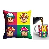 MeSleep Digitally Printed Micro Fabric Cushion Cover And Ceramic Mug With Artificial Rose - Multicolor (cdm-05...
