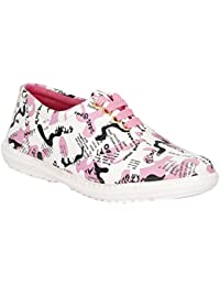 VAGON WOMEN AND GIRLS CANVAS AND SYNTHETIC CASUAL LACE UP SHOE AND SNEAKERS PINK VJ471-PINK