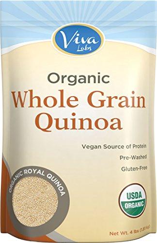 Viva Labs - The FINEST Organic Quinoa, 100% Royal Bolivian Whole Grain, 4 LB Bag