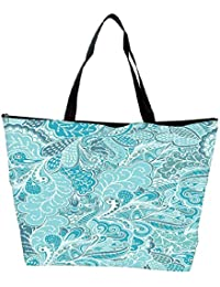Snoogg Vector Seamless Texture With Abstract Flowers Endless Background Ethnic Sea Waterproof Bag Made Of High... - B01I1KHYHW