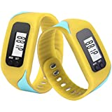 Sandistore LCD Run Step Pedometer Walking Distance Calorie Counter Run Walking Distance Fitness Trackers Yellow