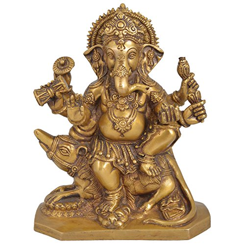 Indian Arts Emporium Antique Finish Brass Ganesha On Rat
