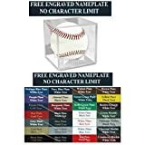 Personalized Engraved Baseball Acrylic Display Case - Square Cube Holder. Free Laser Engraved Name Plate