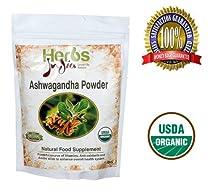 Herbs India - Ashwagandha Powder 16 Oz 1lb. 100% USDA Certified Organic.