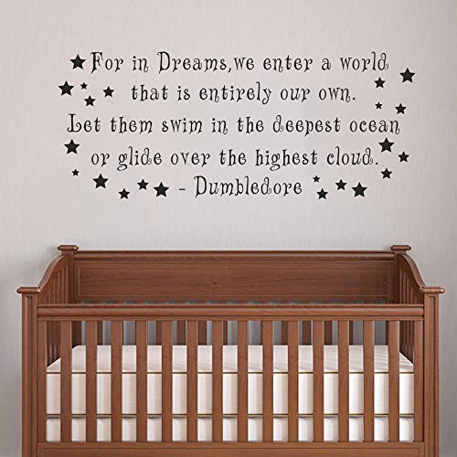 """Dumbledore Harry Potter Girl or Boy Room Kid Baby Nursery Decorative Vinyl Lettering Wall Decal Quote Sticker(Black, 19""""h x46""""w)"""