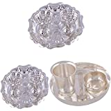 """GS MUSEUM Silver Plated Rani Kumkum Plate 2 Sets And Silver Plated 6"""" Child Thli Set"""