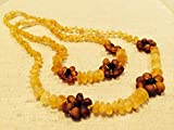 17 AND 12.5 Inch Baltic Amber Teething Necklaces for (Baby & Toddler) PLUS one for mom! adult - Raw Unpolished Lemon with Cognac Flower Flowers Yellow Brown Cherry Cognac Anti-inflammatory, Drooling & Teething Pain Reduce Properties - Growing Pains. Inflammation anti-inflammatory swelling sciatica, arthritis, carpal tunnel, back aches, headaches, Perfect Mother's Day Gift!! Certificated Natural Oval Baltic Jewelry with the Highest Quality Guaranteed. Easy to Fastens with a Twist-in Screw Clasp Mothers Approved Remedies! 12.5 & 17 inches, Helps some with colic & eczema.