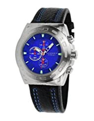 Android Antiforce AD685BBU 48MM Chronograph Analog Blue Dial Men's Black Leather Watch