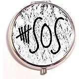 5 Seconds Of Summer Logo Round Fashion Pill Box Medicine Tablet Holder Organizer Case For Pocket Or Purse