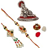 ECraftIndia Designer Bhaiya Bhabhi Rakhi Set With Lord Ganesha Idol And Roli Tikka Matki