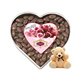 Skylofts Sweet Chocolate Coated Raisins Nutties 300gms Heart Box With A Cute Teddy Stuff Toy
