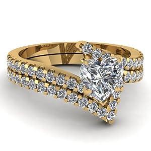 Fascinating Diamonds 2.35 Ct Heart Shaped Ideal Cut Diamond Zig Zag Style Wedding Rings Set SI2 14K GIA