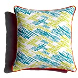 Homeblendz Cotton Printed Zig Zag Design With Piping Turquoise/light Green 40x40 Cushion Cover