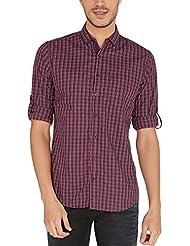 Nick&Jess Mens Maroon & Blue Tartan Checkered Slim Fit Poplin Shirt
