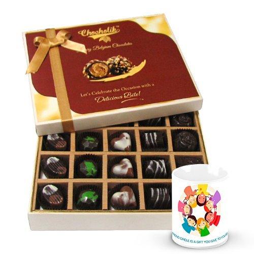 Valentine Chocholik Belgium Chocolates - Silk Smooth Of Dark And Milk Chocolate Box With Friendship Mug