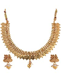 Ganapathy Gems 1 Gram Gold Plated Lakshmi Coins With Pearl Drops Necklace Set For Women