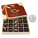 Chocholik Belgium Chocolates - Beautiful 20 Pc Mix Assorted Chocolate Box With 5gm Pure Silver Coin - Diwali Gifts