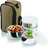 Leakproof Stainless Steel Lunch Carrier Box Set Of 4 Container + 1 Spoon Office Lunch Breakfast Food Carry Box...