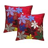 Zikrak Exim Felt Flower Cushion Cover Red 2 Pcs Set 40 X 40 Cm