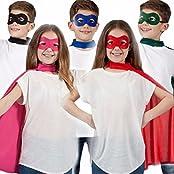 Kids Girls Boys Superhero Cape Eye Mask Fancy Dress Comic Book Outfit