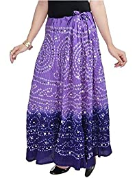 SHREEMANGALAMMART Bandhej Exclusive Purple Cotton Skirt (Light Purple-Dark Purple)(SMSKT541)
