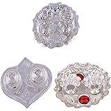 GS MUSEUM Silver Plated Rani Kumkum Plate, Silver Plated Pan Kumkum Plate And Silver Plated Roli Chawal Red Rani...