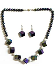 Acrylic Bead Necklace With Earrings - Beads And Metal