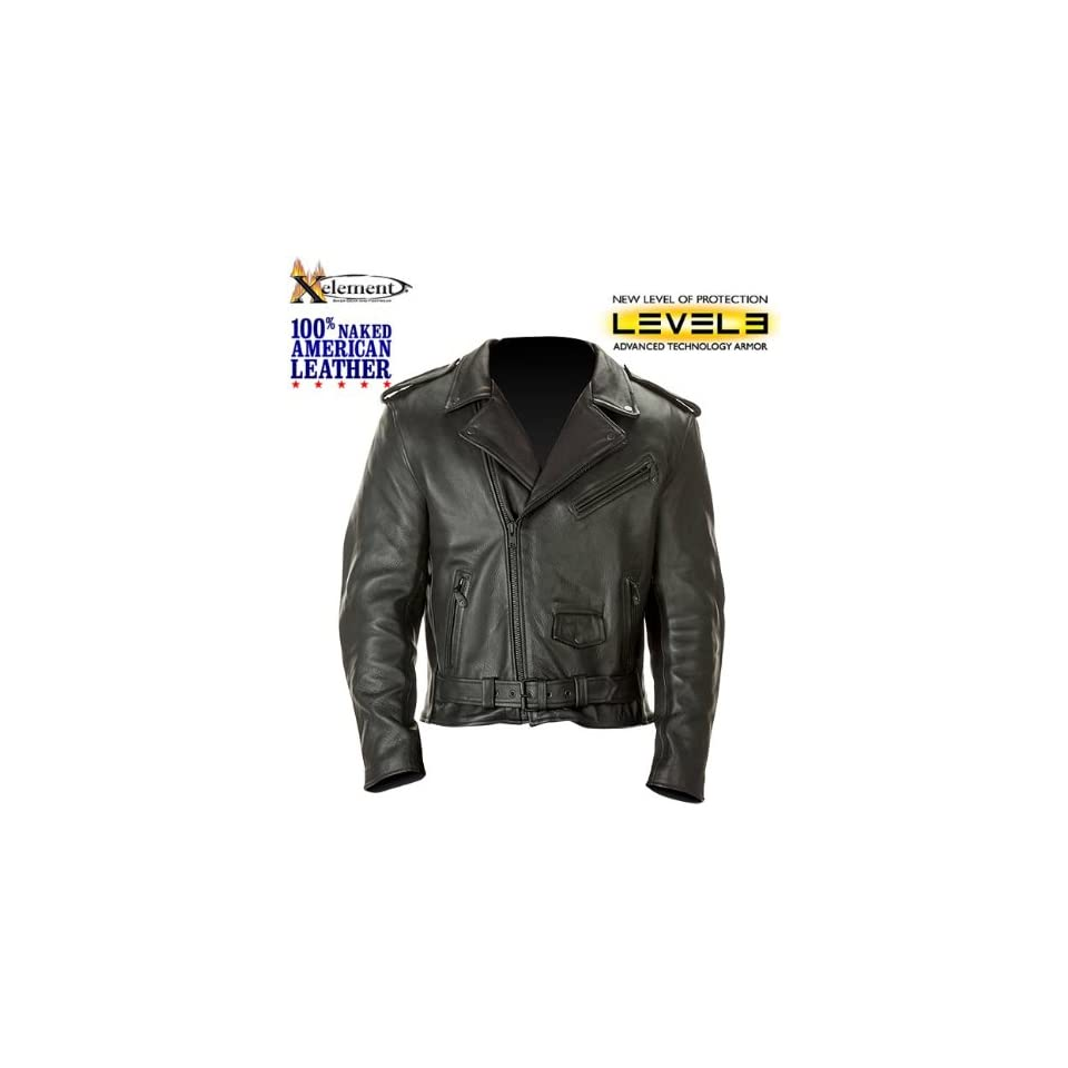 Xelement Mens American Classic Leather Motorcycle Jacket With Level 3 Advanced Armor L