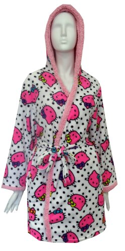 Hello Kitty Junior's Print Sherpa Trim Hoodie Robe