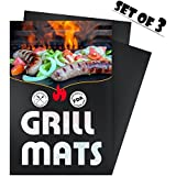 Homitt Grill Mat (Set Of 3) Heavy Duty Non Stick BBQ Grilling Pad For Oven, Electric Gas Charcoal Barbeque Gill...