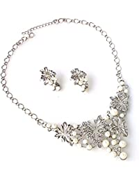 Shining Diva Silver Plated Party Wear Pearl Necklace Jewellery Set With Earrings For Women And Girls