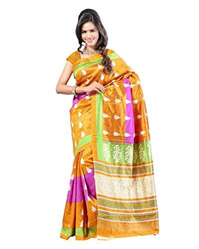 Kajal Sarees Women's Art Silk Self Print Saree (PS_226, Yellow)