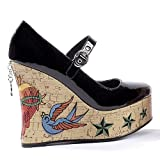 Sexy Women's Shoes Cork Wedge Platform Mary Janes 4.5 Inch Tattoo Embroidery Penthouse Shoes Gothic Fashion Punk Black Leopard