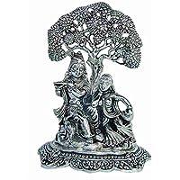 Silver Plated Radha Krishna Sitting Under Tree God Idol Gift For Diwali,New Year,House Warming, Wedding, Anniversary