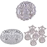 GS MUSEUM Silver Plated Rani Kumkum Plate, Silver Plated Oval Kumkum Plate And Silver Plated Set Of 6 Standing...