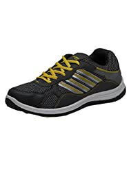 Columbus Men's Grey And Yellow Mesh Running Shoes (FM-5)