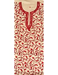 Exotic India Cream And Red Two-Piece Salwar Kameez Fabric From Kashm - Off-White