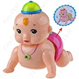 Lovely Crawling Baby With Sound And Light Cap Toy Plaything Model Gift For Kids Babies - Pink FTY-42055