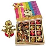 Chocholik Awesome Combination Of Almonds, Raisin, Cashew, Truffles & Chocolates Rocks Gift Box With Ganesha Idol...