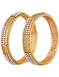 Shining Diva Gold Plated Copper Bangle Set For Women