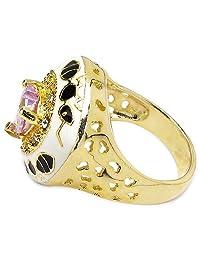 10.20 Grams Light Purple & White Cubic Zirconia Gold Plated Brass White & Black Enamel Ring