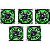 APEVIA 512L-DGN 120mm Silent Black Case Fan With 15 X Green LEDs 8 X Anti-Vibration Rubber Pads 5 Pk - Best Value