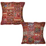Handmade Cushion Cover Patchwork Zari Embroidery Sequins Cotton 16 Inches 2 Pcs