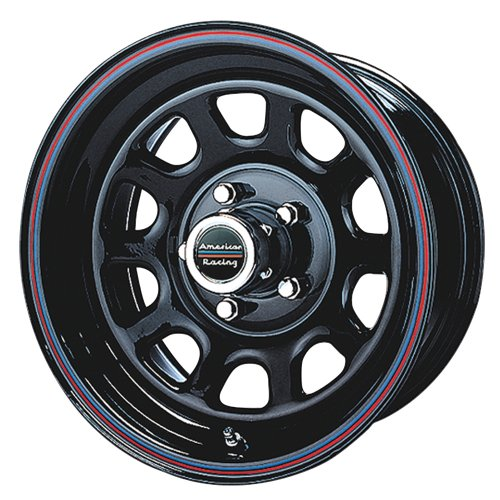 American Racing Custom Wheels AR767 Gloss Black Wheel With Red And Blue Strip (16×7″/5×139.7mm, 0mm offset)