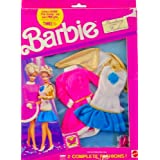 1991 Arco Toys / Mattel Barbie Fantasy Fashions 2 Complete Fashion Outfits 1 Pink Fuzzy Dress W/ Pink Heels &...